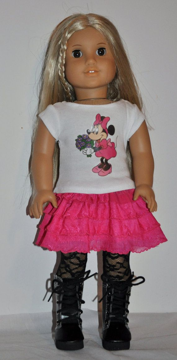 Minnie mouse skirt and top outfit  that fits by DOLLYDUDSBYBECKIE, $14.99