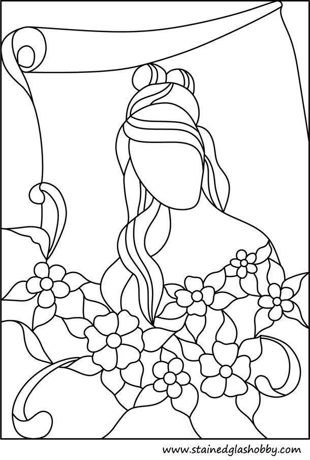 Flores rosadas y señora vidrieras esquema