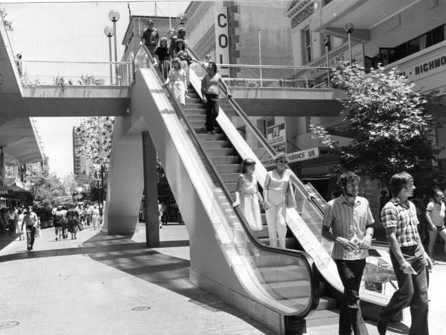 The now-demolished Rundle Mall escalators and pedestrian walkway, as pictured in 1982. - How Adelaide got Rundle Mall | Adelaide Now