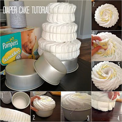 Diaper Cake Tutorial - wrapped diapers instead of rolled are so much easier to use by the new Mommy and Daddy