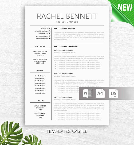 Resume Template 2 Page CV Template Cover Letter MS Word