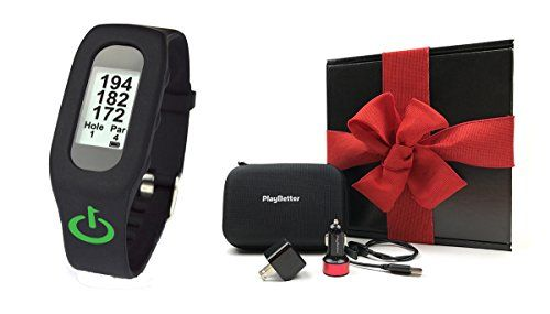 TLink Golf GPS Band Black GIFT BOX  Bundle includes Golf GPS Band PlayBetter USB Car  Wall Charging Adapters PlayBetter Hard Carrying Case Black Gift Box and Red Bow ** Want to know more, click on the image.