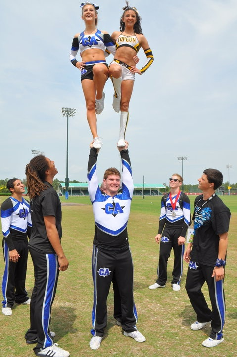 LOVE to stunt with other teams! Go Top Gun!
