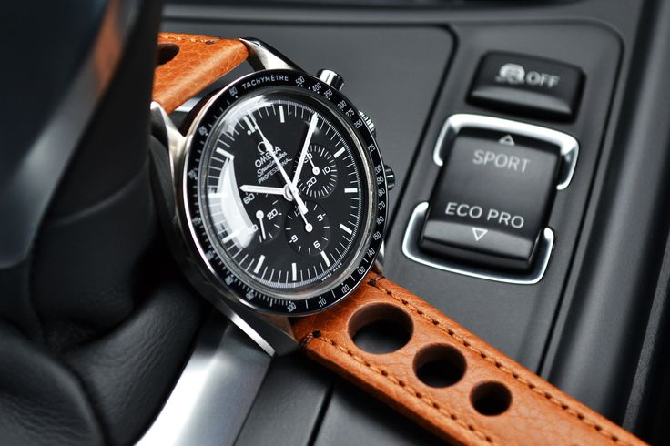 The New Hirsch Rally strap launched at Basel 2015 Modeled on our ever popular Omega Speedmaster  In stock now!!