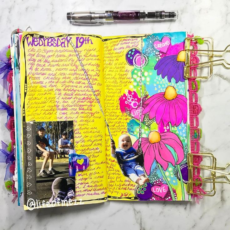 Tonight's journal page in my Traveler's notebook was created using mostly posca paint pens . I love how I made this photo of my son on the swing part of the page . Journaling done with my twsbi fountain pen and magenta flash shimmering ink