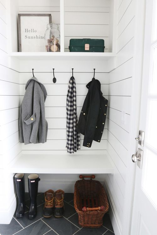 White and Gray Mudroom by Studio McGee
