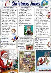 Английский рабочий лист: Рождественские Шутки (1/2)