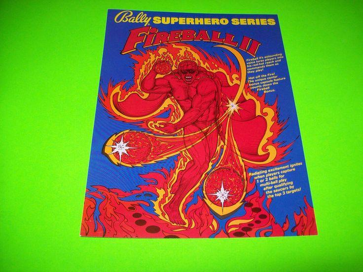 Bally FIREBALL II Original 1980 NOS Flipper Pinball Machine Flyer Fire Ball 2 #Bally
