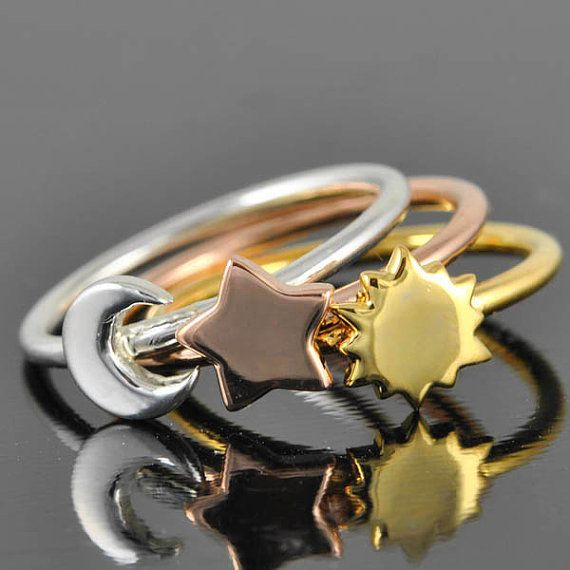 Gold Star ring Sun ring Moon ring sterling by JubileJewel, $40.00