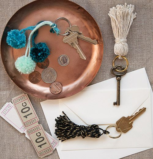 tassel & pom pom key rings.