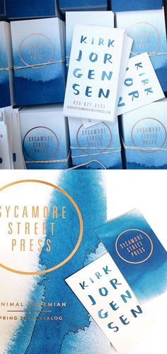 Beautiful Blue Watercolour And Gold Business Cards For A Printer