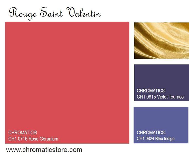 Rouge Saint Valentin - Par touches, associé à l'or ou, et c'est nouveau, à des violets subtils, ce rouge universel réchauffe une lumière naturelle froide. www.chromaticstore.com