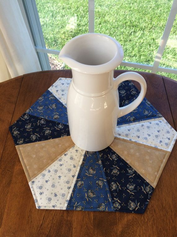 Dresden Plate Quilted Blue & Beige Hexagon Table by seaquilt