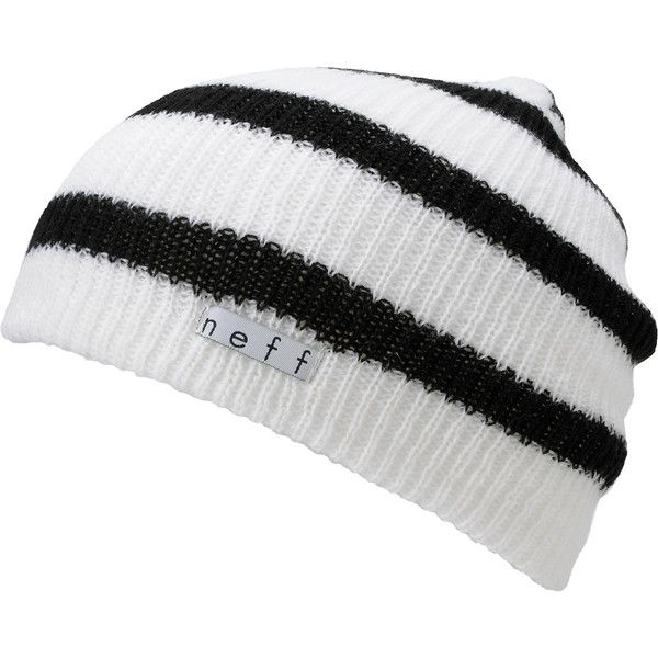 Neff Daily White Black Beanie ❤ liked on Polyvore