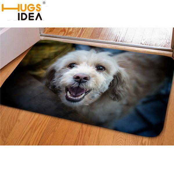 HUGSIDEA 3D Cute Pet Dog Entrance Doormat Non-Slip Soft Flanner Kitchen Carpet Brand Rugs for Kids Bedroom Carpets Floor Mats