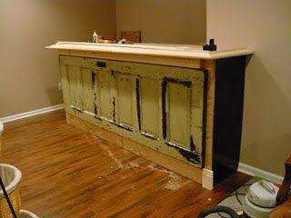 Bar made from antique door
