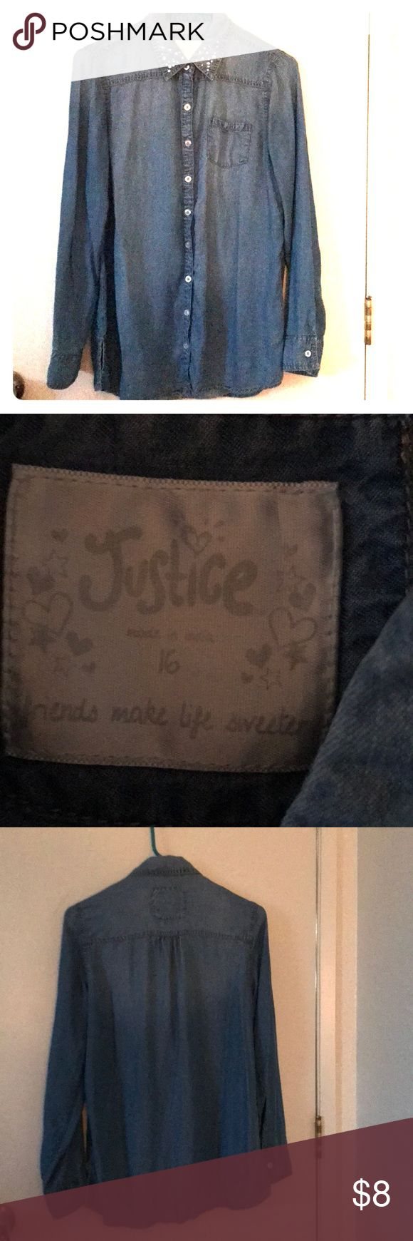 Child button up with bling at the collar. Girls light weight jean look material purchased from Justice clothing store largest there 16-20 girls not juniors. Never worn washed for pictures no signs of wear or tear to best of my knowledge thank you Justice Tops Button Down Shirts