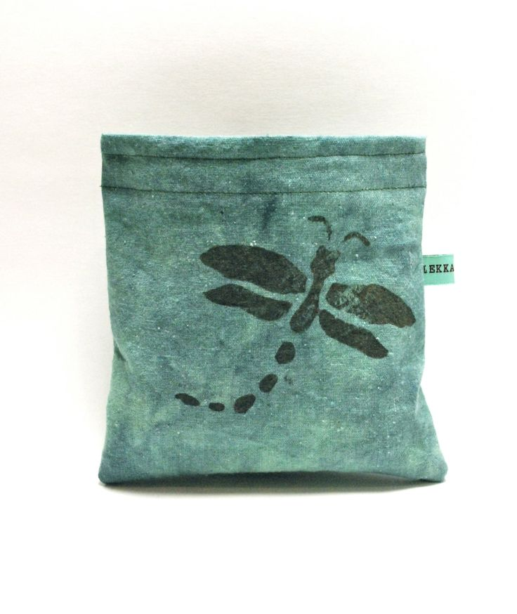 Reusable Snack Bag - Reusable Sandwich Bag - Hand Dyed Hand Printed Dragon Fly by HEKKALandHyde on Etsy https://www.etsy.com/listing/199613878/reusable-snack-bag-reusable-sandwich-bag