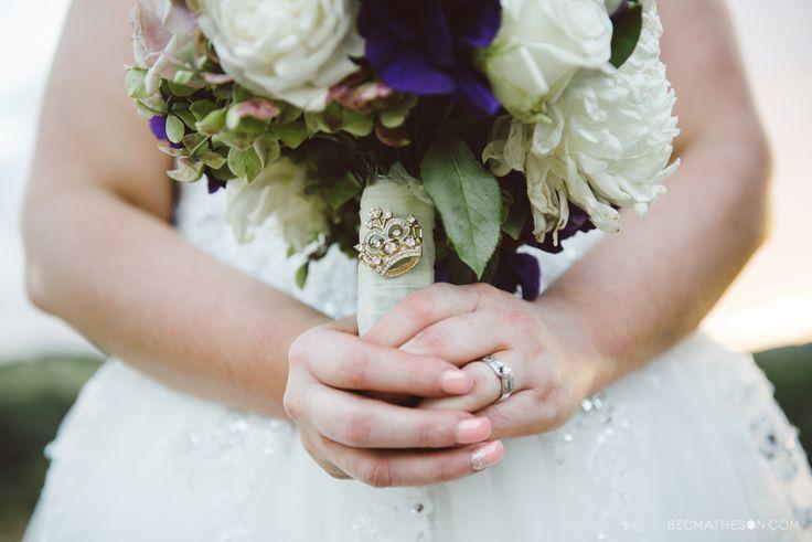 Bouquet pin. Crown pin. Bridal bouquet. Wedding flowers. White and purple.  www.becmatheson.com #bouquet #bouquetpin