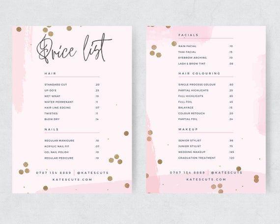 Pink Gold Editable Price List Template Modern Price List Etsy In 2021 Price List Template Hair Salon Price List Salon Price List