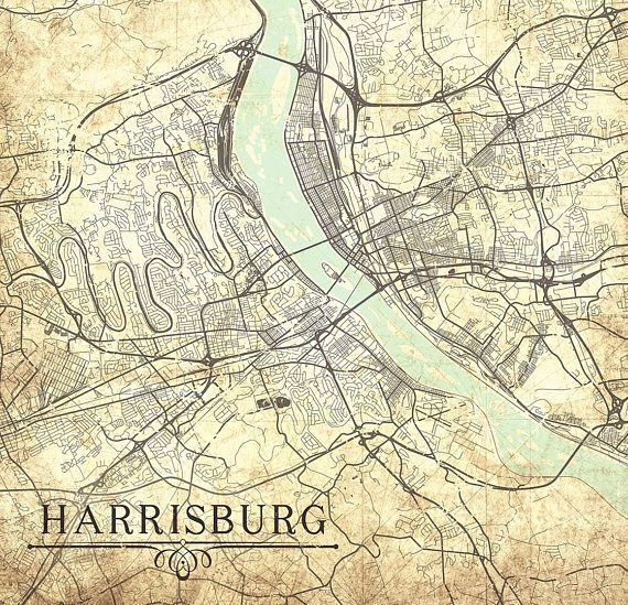 HARRISBURG PA Canvas Print Pennsylvania Vintage map City ...