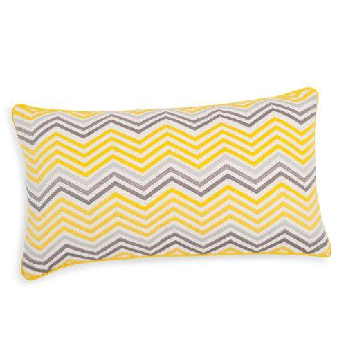 Housse de coussin en coton jaune/grise 30 x 50 cm CAPARICA