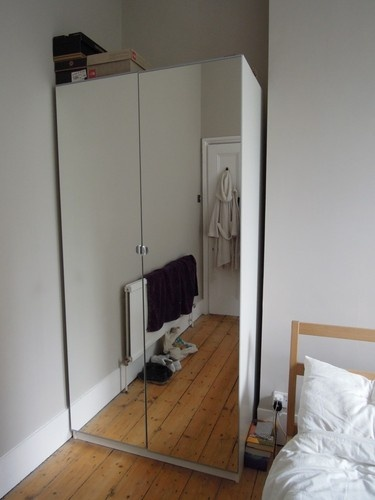 ikea pax mirrored front double wardrobe