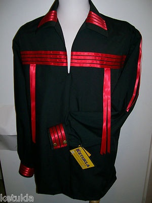 Native American Indian Regalia Traditional Black Red Ribbon Shirt Size x XL | eBay