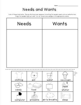 Wants+Classroom+Activities Needs and Wants Lesson Plan and Worksheets ...