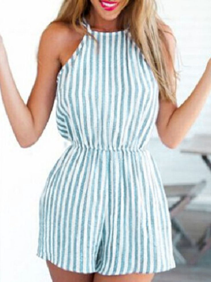 Blue And White Stripe Halter Strappy Open Back Romper Playsuit - Choies.com