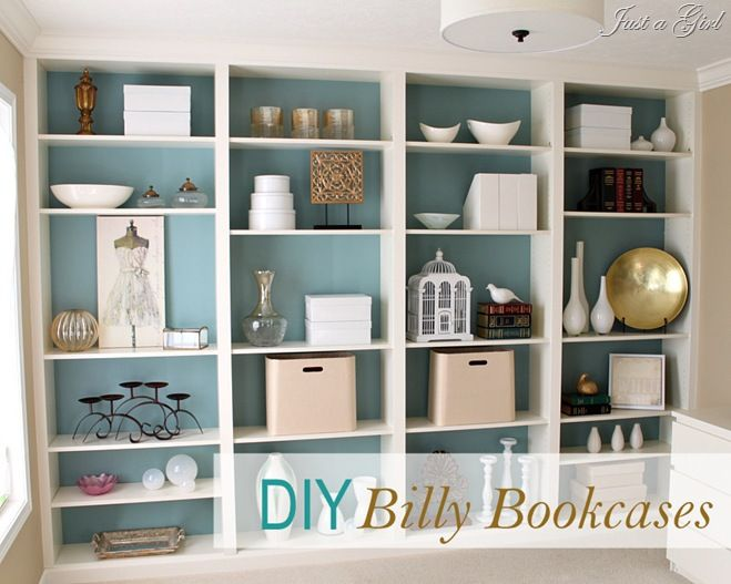 built in Billy bookcasesDecor, Ideas, Bookshelves, Built In, Ikea Billy Bookcase, Builtin, Living Room, Book Shelves, Billy Bookcases
