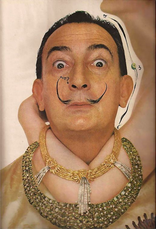Salvador Dali with his 'Fountain of Heraclitus' necklace. Photo by Richard Avedon for Harper's Bazaar, June 1963.