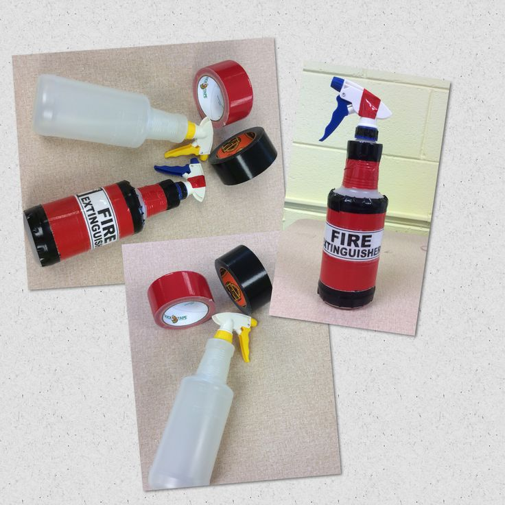 Pretend Fire Extinguishers: spray bottle, red and black Duct tape and a fire extinguisher label printed from an image on google. Not pictured is clear packaging tape used to cover the label. Use empty for pretend play in the dramatic corner, use with water and pretend fire made from plastic. Great for fire safety theme, or fire fighter dramatic play.