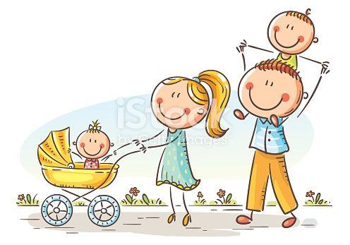 Happy Cartoon Family With Two Children Walking Outdoors Vector Illustration Familia Feliz Dibujo Dibujos Para Ninos Familia Para Dibujar