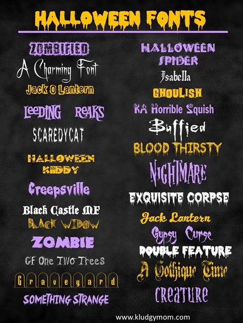 halloween+font,+scary+fonts+http://www.kludgymom.com/halloween-fonts/