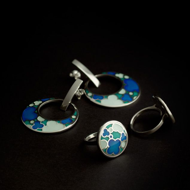 Earrings, and rings. Enamel & sterling silver. Handmade by Geoff Mitchell. Australia.