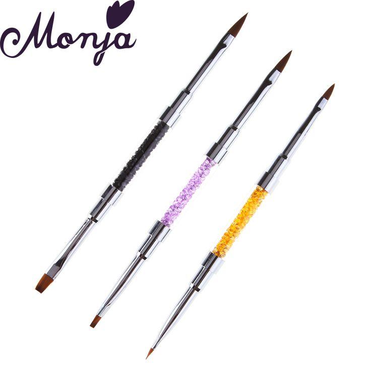 Nail Art Acrylic UV Gel Rhinestone Dual End Crystal Brush Pen Polish Powder Painting Drawing Dotting 2 ways Manicure Tool