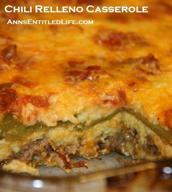 Chili Relleno Casserole Recipe; A classic Mexican dish transformed into an easy to make casserole. Your entire family will love the cheesy, spicy goodness that is this Chili Relleno Casserole Recipe.  http://www.annsentitledlife.com/recipes/chili-relleno-casserole-recipe/