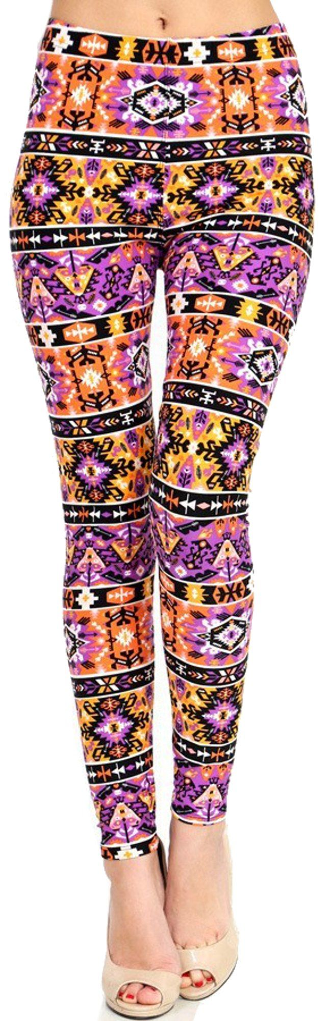 Lush Moda Extra Soft Leggings with Designs- Variety of Prints - Pink Gold Ornament