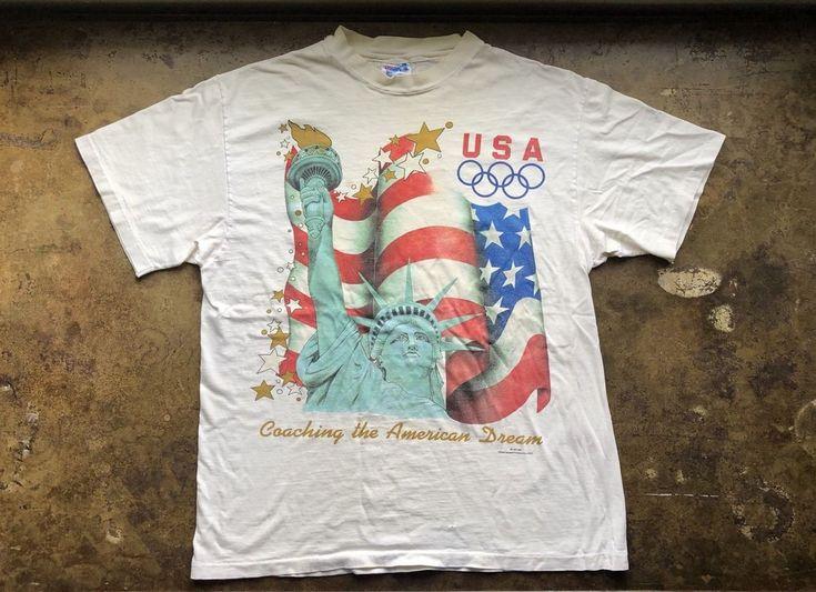 Olympic Statue of Liberty Shirt Vtg 90s New York NYC USA Flag Tshirt Usoc Tee L #Hanes #GraphicTee