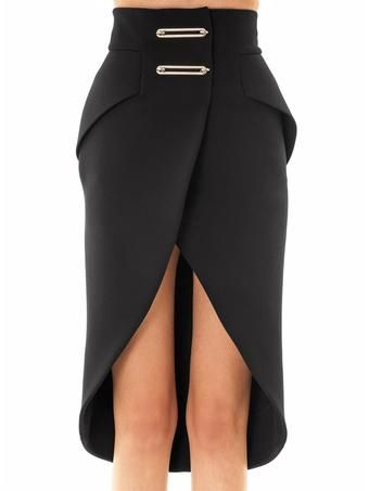 Balenciaga Metal Bar Bonded Crepe Pencil Skirt - Lyst