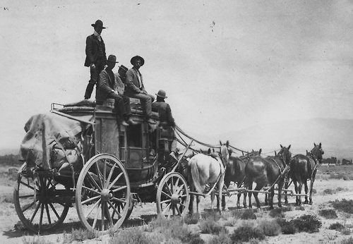 Wyoming, circa 1900, Overland by Stagecoach....Crossing the country by stagecoach was adventurous even by nineteenth-century standards. Nine people could squeeze inside a stagecoach; additional passengers sometimes traveled on the roof. Passengers remained sandwiched together for about 22 days, with only brief stops for meals and changes of stock or equipment.: