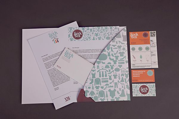 SockBox Laundromat on Behance by Arnica Botha Letterhead Envelope Card Business Cards Folder