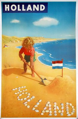 1949 Holland Poster by Jan Lavles Vintage travel beach poster Holland (Netherlands)