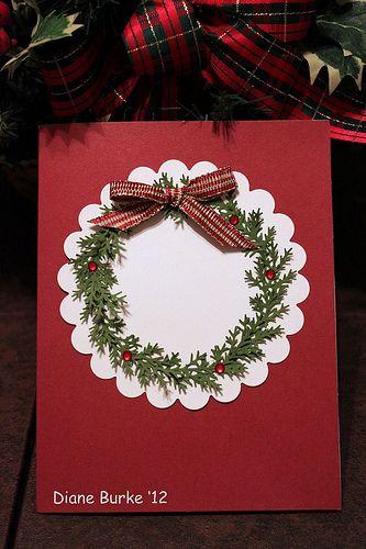 Card - Christmas wreath with bow