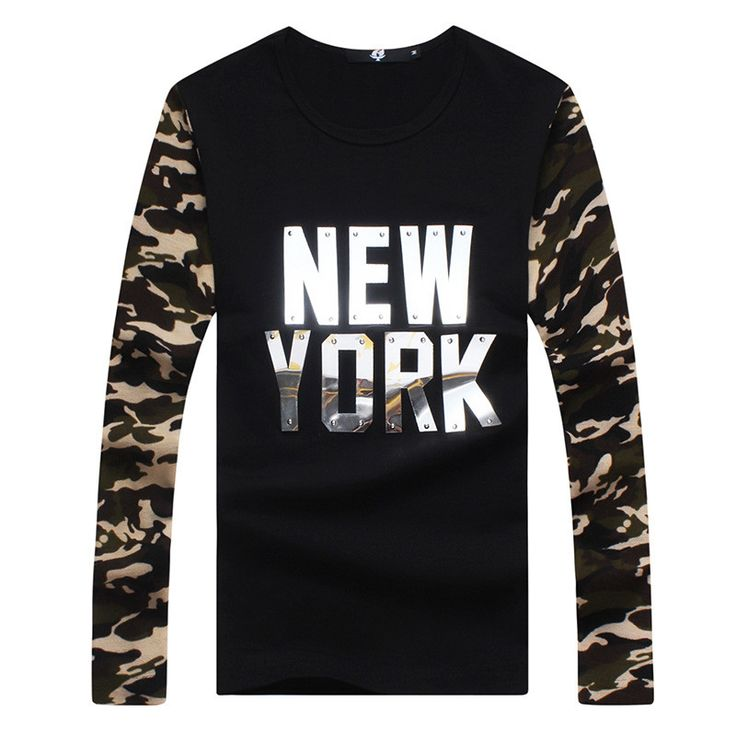 Mens Brand T-Shirt Long Sleeved Camouflage Spliced Sleeves T Shirts Fashion Casual Slim Fit Cotton TShirt Top Quality Size:M~5XL