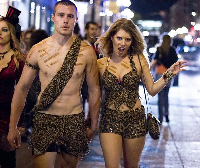 A couple wearing DIY Tarzan and Jane costumes