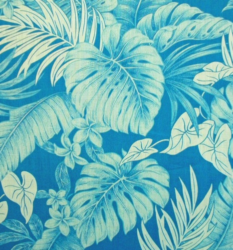 FABRIC, TROPICAL, HAWAIIAN, PLUMERIA FLOWERS, MONSTERA LEAF, FERNS - LIGHT BLUE | eBay