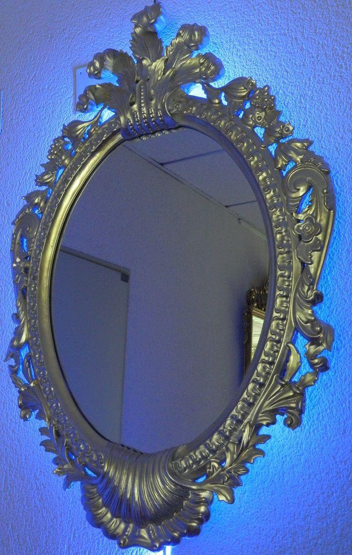 8 best marcos y espejos artesanos con luz images on for Espejos con marco plateado