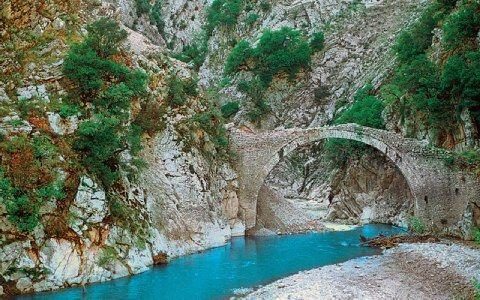 Στο βάθος της χαράδρας του Λιασκοβίτικου ρέματος, ξεχωρίζει το μονότοξο γεφύρι του Πετρωτού (14ος αιώνας)